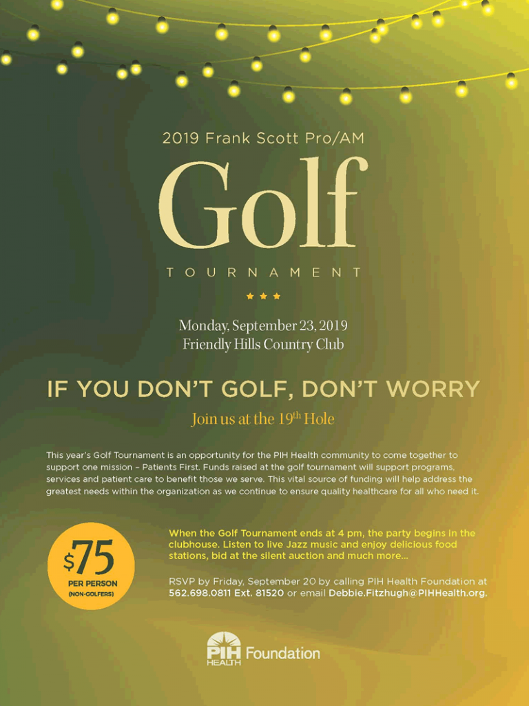 PIH Health - Golf Tournament Mix Mingle flyer