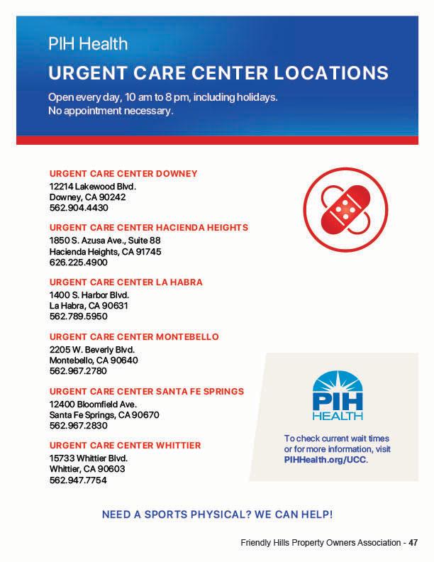 PIH Urgent Care Locations